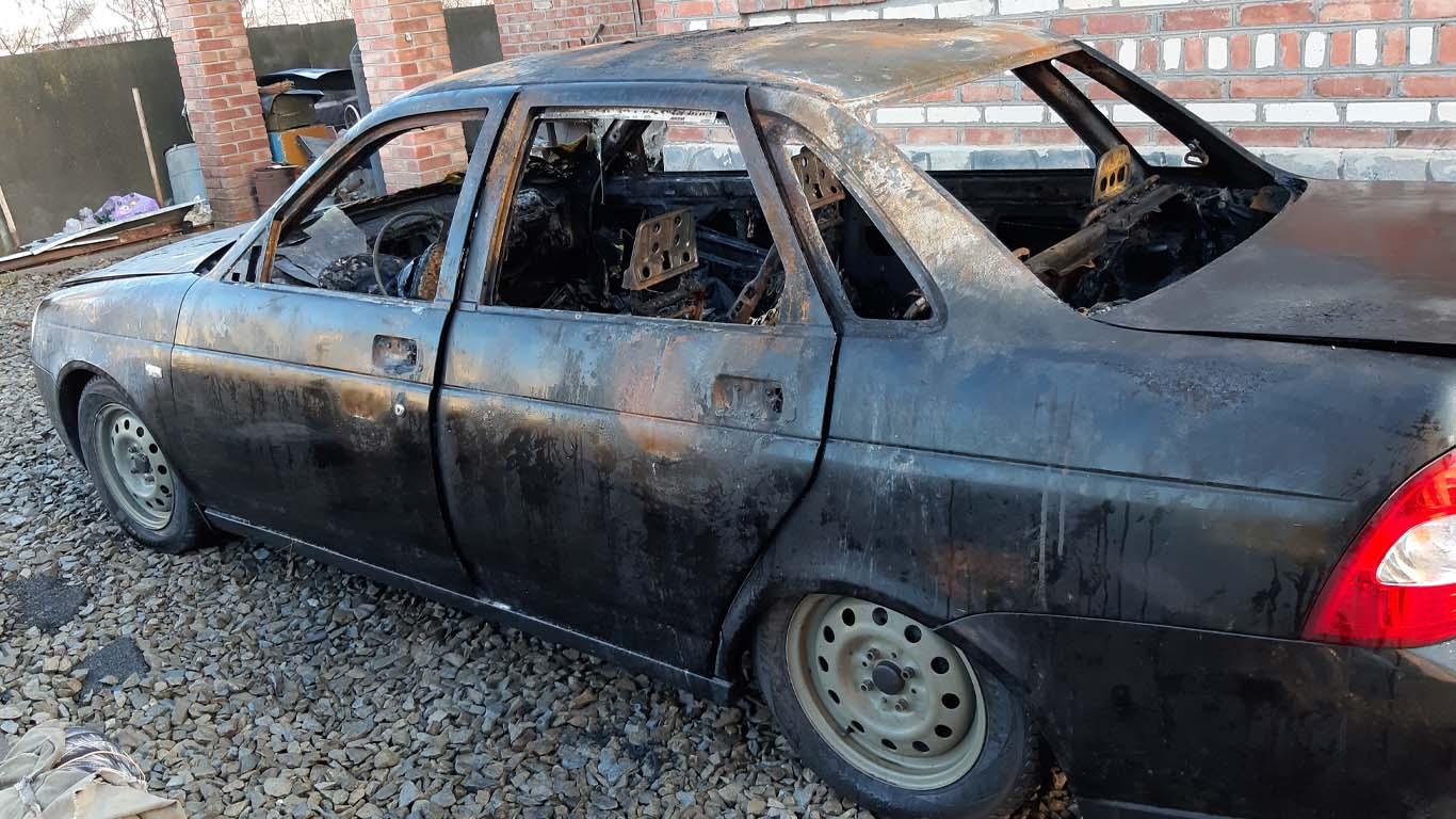 В Целинском районе сгорел автомобиль